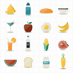Food and drink icons with white background