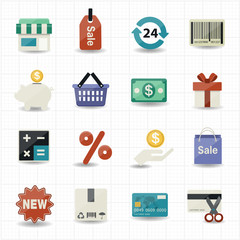 Business and shopping icons with white background