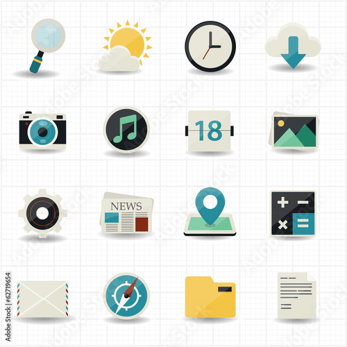 Web internet icons and mobile icons with white background