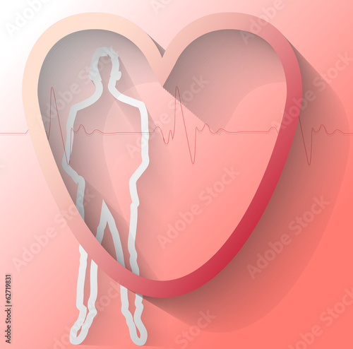 Illustration of man with heart beat on red background