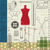 Grunge hand drawn sewing related poster