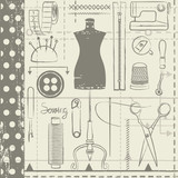 Hand drawn sewing related seamless vector pattern background