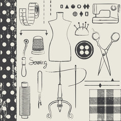 Vintage hand drawn sewing related symbols 1