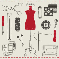 Vintage hand drawn sewing related symbols 2