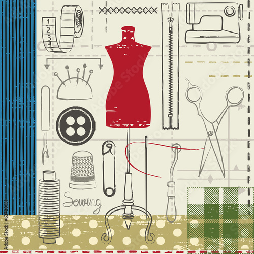 Grunge hand drawn sewing related poster - 62720031