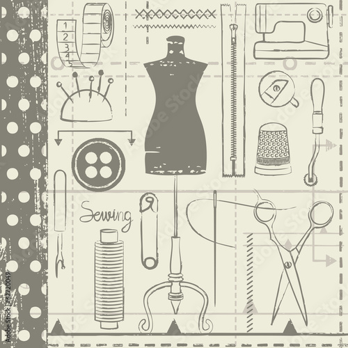 Hand drawn sewing related seamless vector pattern background - 62720049