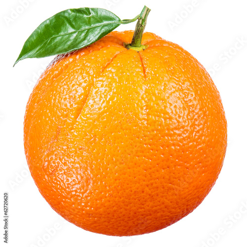 Orange fruit with leaf isolated on white