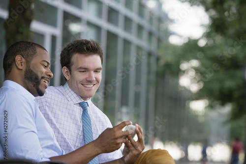Summer. Two Men Sitting On A Bench, Using A Smart Phone.