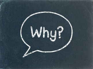 """WHY?"" Speech Bubble on Blackboard (questions explanations help)"