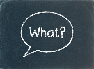 """""""WHAT?"""" Speech Bubble on Blackboard (questions and answers how)"""