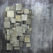 fragmented gray square tile grunge pattern backdrop