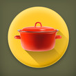 Red saucepan, long shadow vector icon