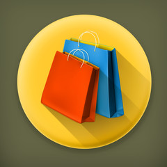 Paper bags, long shadow vector icon