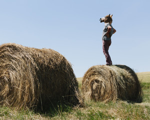 A Man Wearing A Horse Mask, Standing On A Hay Bale, Looking Out Over Farmland.