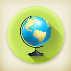 School globe, long shadow vector icon