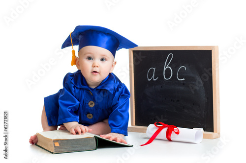 Baby in academician clothes  with pointer and chalkboard