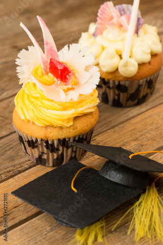 Graduation cupcakes with mortar board close-up