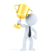 Business man raising trophy. Isolated with clipping path