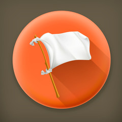 White flag, long shadow vector icon