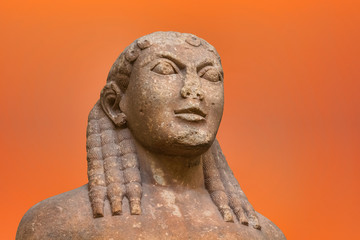 Portrait of Kouros ancient greek statue