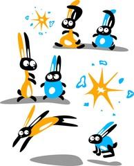 Set of funny rabbits