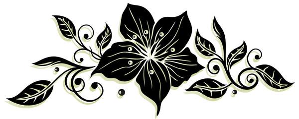 Blätter Ornament mit Lilie