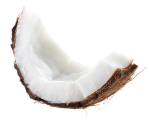 Coconut. Fruit piece on white background