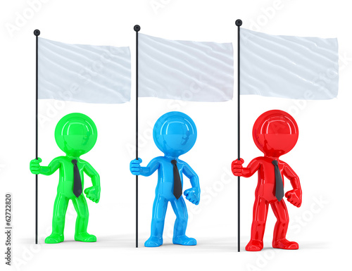 Group of businesspeople with flags. Isolated with clipping path