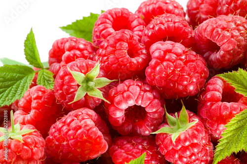 Raspberry with leaves. Berry fruit