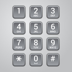 User interface keypad for phone. Vector
