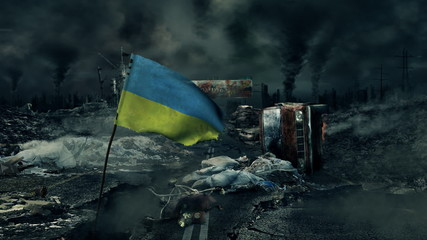 Post apocalyptic scene - Ukraine flag