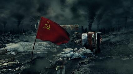 Post apocalyptic scene - Soviet flag