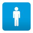 Etiqueta tipo app azul simbolo hombre