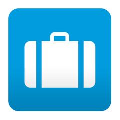 Etiqueta tipo app azul simbolo maleta