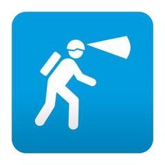 Etiqueta tipo app azul simbolo espeleologia