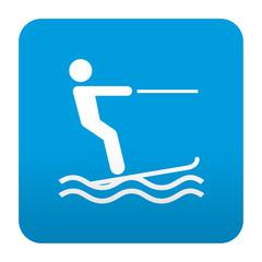Etiqueta tipo app azul simbolo esqui acuatico