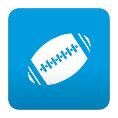 Etiqueta tipo app azul simbolo pelota de rugby
