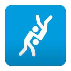 Etiqueta tipo app azul simbolo judo