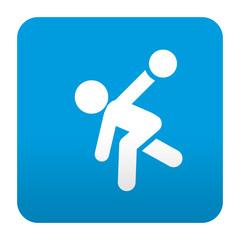 Etiqueta tipo app azul simbolo jugador de bolos