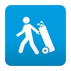 Etiqueta tipo app azul simbolo jugador de golf