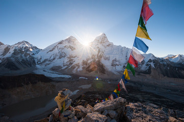 Mt.Everest at sunrise from Kala Patthar summit, Nepal
