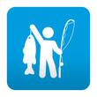 Etiqueta tipo app azul simbolo pescador con trofeo