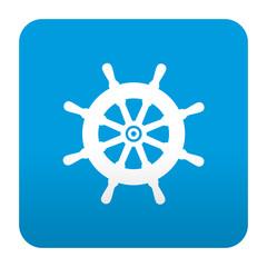 Etiqueta tipo app azul simbolo timon de barco