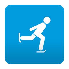 Etiqueta tipo app azul simbolo patinaje sobre hielo