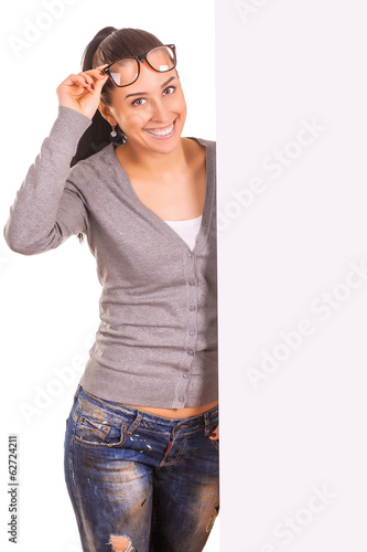 girl with a banner isolated on white