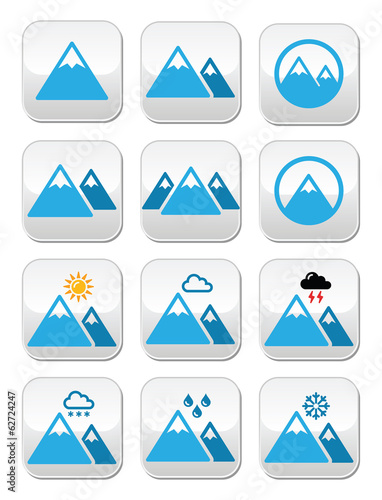 Mountain winter vector buttons set
