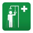 Etiqueta tipo app verde simbolo sanitario ducha de seguridad