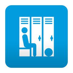 Etiqueta tipo app azul simbolo vestuario