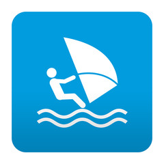 Etiqueta tipo app azul simbolo windsurf