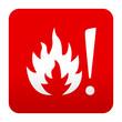 Etiqueta tipo app roja simbolo superficie caliente